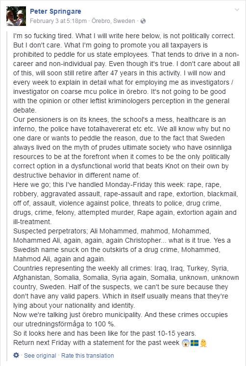 Bărbat Suedez Amendat Pentru Comentariu pe Facebook