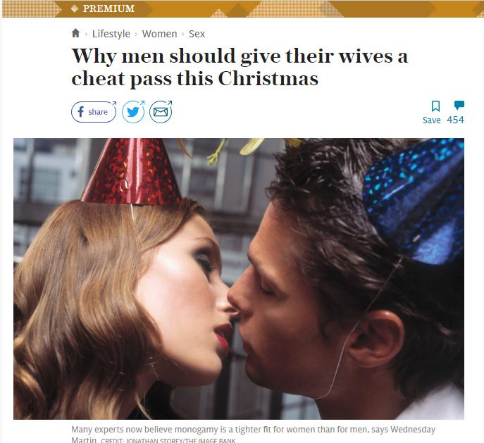 Ziarul Telegraph Promovează Adulterul de Crăciun