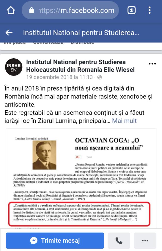 """Institutul pentru studierea holocaustului """"Elie Wiesel"""" atacă Biserica Ortodoxă"""