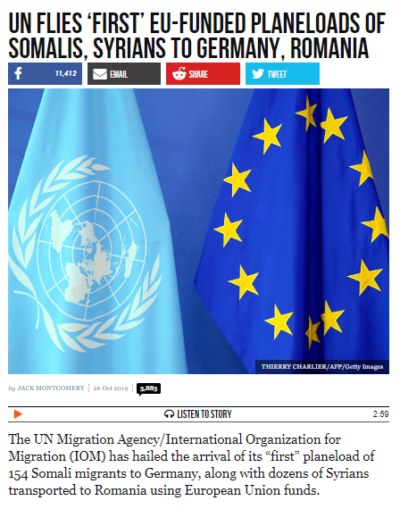 Migranți Aduși de Națiunile Unite cu Avionul în România