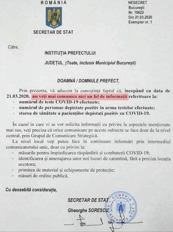 Cătălin Ioan Berenghi publică documente care arată că medicilor li se interzice comunicarea informațiilor despre numărul de teste