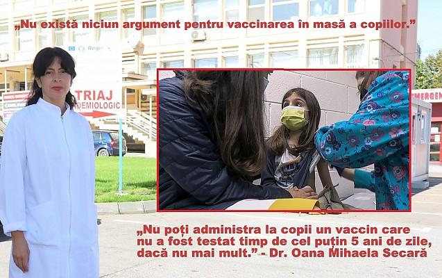 """ÎN ATENȚIA PĂRINTILOR - Medicul Oana Mihaela Secară avertizează: """"Nu există niciun argument pentru vaccinarea în masă a copiilor"""