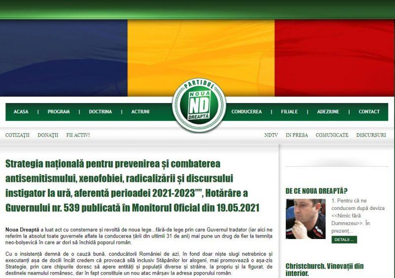 Partidul Noua Dreaptă ia atitudine împotriva institutului Elie Wiesel