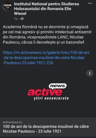 Institutul Terorist Elie Wiesel insultă memoria lui Nicolae Păulescu