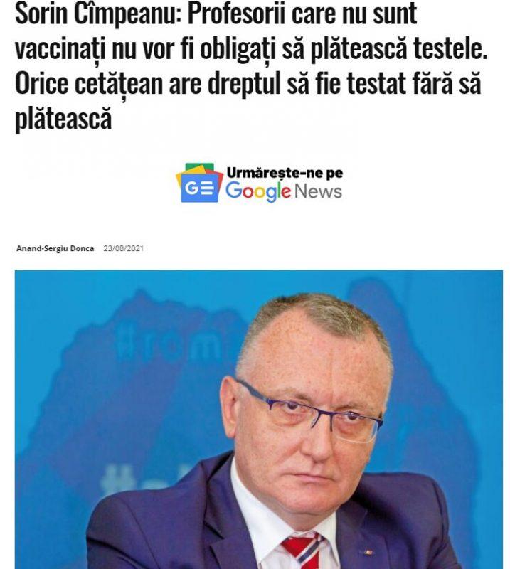 Vaccinarea obligatorie sau testarea obligatorie pe banii statului este o falsă alegere