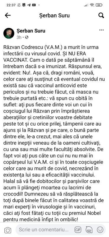 Uzurpatorul Șerban Suru s-a folosit de moartea scriitorului Răzvan Codrescu pentru a susține campania guvernamentală de vaccinare