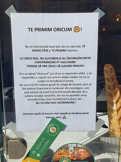 """HoReCa se trezește? Campania """"Te Primim Oricum"""" - O cofetărie din Brașov anunță că primește și persoane fără certificatul verde"""